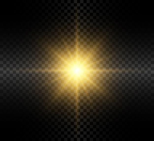 Effetto luce bagliore trasparente con raggi luminosi.