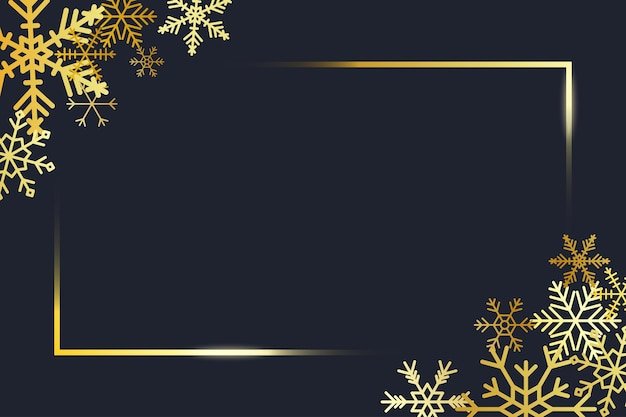 Angoli di cornice dorata trasparente con fiocchi di neve dorati banner per il testo di buon natale e capodanno