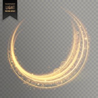 Sfondo trasparente effetto di luce dorata vettoriale