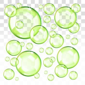 Bolle verdi trasparenti. eps 10 modificabile, sfumature con trasparenza. facile da applicare su qualsiasi sfondo.
