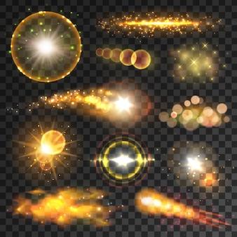 Effetti di luce trasparenti e riflessi sulle lenti