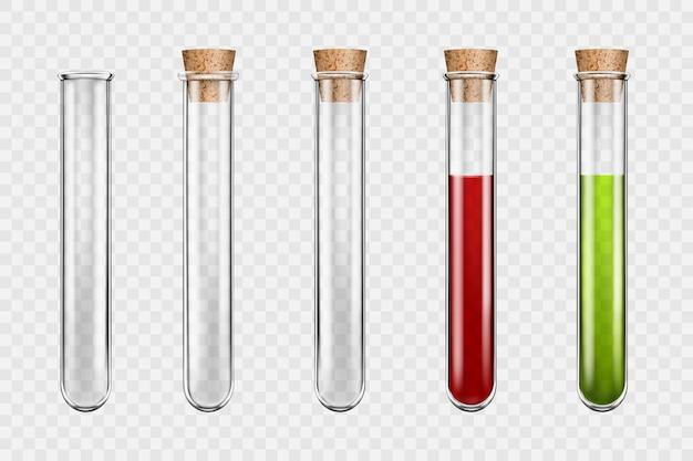 Set di provette in vetro medico trasparente, liquidi colorati in provetta con tappi, sangue in provetta di vetro. illustrazione realistica di vettore 3d su sfondo trasparente.