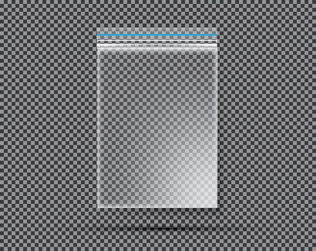 Borsa trasparente in nylon o polietilene con chiusura o cerniera.