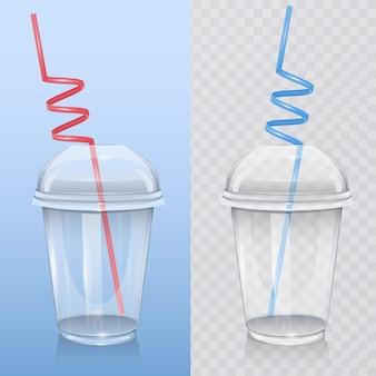 Modello di bicchiere di plastica trasparente con cannuccia, isolato