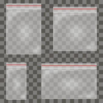 Set di sacchetti di plastica trasparente con cerniera contenitore vuoto vuoto in polietilene realistico con chiusura a zip