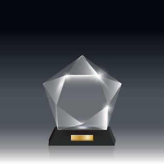 Premio trofeo di vetro acrilico vuoto realistico trasparente