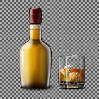 Bottiglia e bicchiere trasparenti realistici con scotch whisky affumicato e ghiaccio