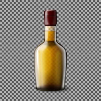 Bottiglia trasparente realistica di vettore con whisky scozzese affumicato e ghiaccio per ogni sfondo