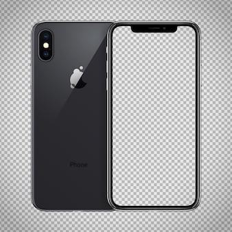 Schermo trasparente dello smartphone nero simile a iphone x.