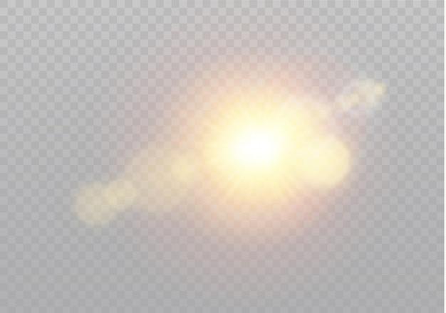 Luce del sole trasparente speciale effetto riflesso lente. modello astratto di natale. particelle di polvere magica scintillante