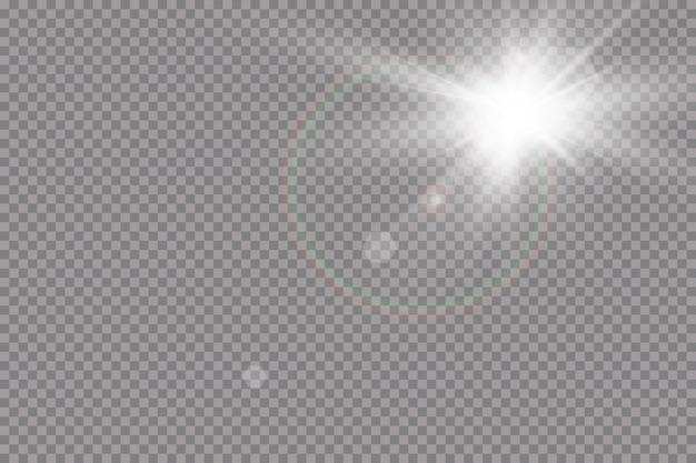 Effetto luce riflesso lente speciale luce solare trasparente. flash del sole con raggi e riflettori
