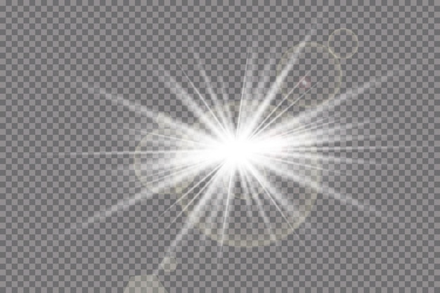 Luce solare trasparente effetto luce speciale riflesso lente. flash del sole con raggi e riflettori.