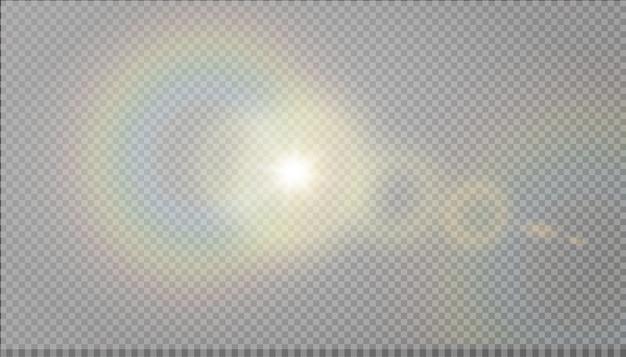 Effetto luce riflesso lente speciale luce solare trasparente.