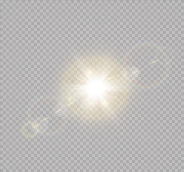 Effetto luce flash con lente speciale per la luce solare trasparente. sfocatura alla luce della radiosità. elemento di arredo. raggi stellari orizzontali e proiettore.