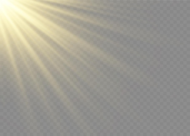 Effetto luce flash con lente speciale luce solare trasparente. flash frontale per lenti da sole. sfocatura alla luce della radiosità. elemento di arredo. raggi stellari orizzontali e proiettore.