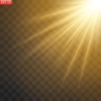 Luce solare trasparente lente speciale flash effetto luce frontale flash lente solare. sfocatura alla luce della radiosità.