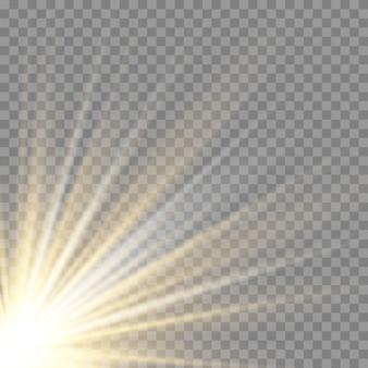 Effetto di luce flash con lente speciale per la luce solare trasparente.