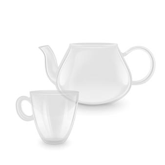 Teiera e tazza trasparenti in stile realistico su vetreria trasparente su sfondo bianco