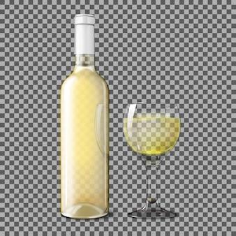 Bottiglia realistica bianca trasparente per vino bianco con bicchiere di vino