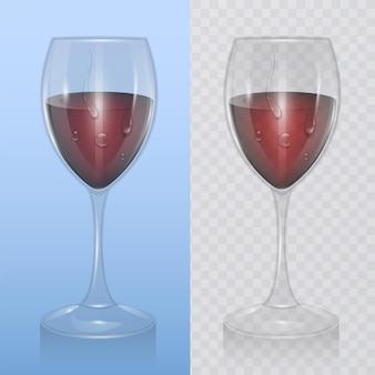 Bicchiere di vino trasparente con vino rosso, modello di cristalleria per bevande alcoliche. illustrazione realistica