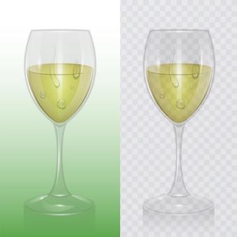 Bicchiere di vino trasparente con vino bianco, modello di bicchieri per bevande alcoliche. illustrazione realistica