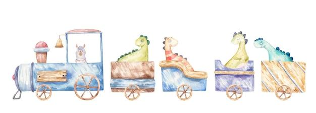 Illustrazione per bambini di trasporto di un treno con animalidinos con carrozze e carrozze