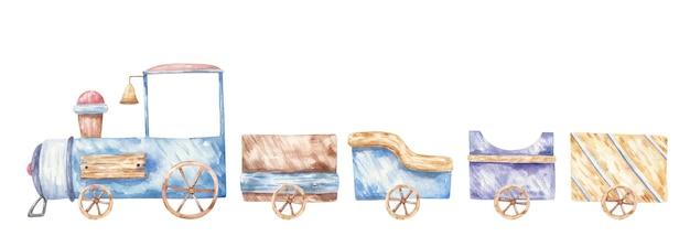 Trasporto, illustrazione per bambini di un treno con carrozze e carrozze, stampa, design