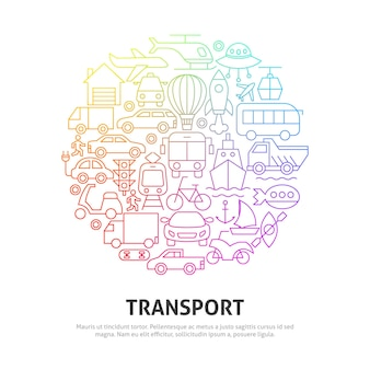Concetto di cerchio di trasporto. illustrazione di vettore del disegno del profilo.