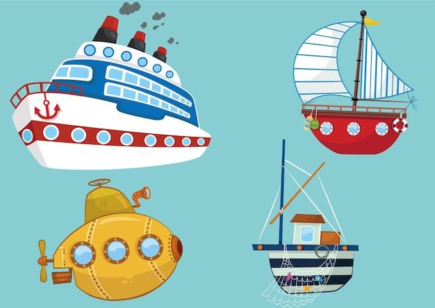 Collezione di trasporto per bambini illustrazione vettoriale barca da pesca sottomarina in barca a vela da crociera