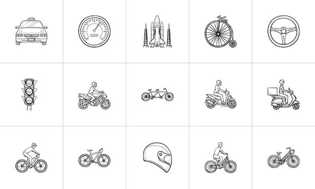 Insieme dell'icona di doodle di contorno disegnato a mano di trasporto. outline doodle set di icone per stampa, web, mobile e infografica. biciclette, moto insieme dell'illustrazione di schizzo di vettore isolato su priorità bassa bianca.