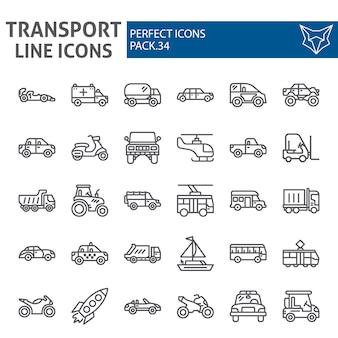 Insieme dell'icona della linea di trasporto, raccolta del veicolo