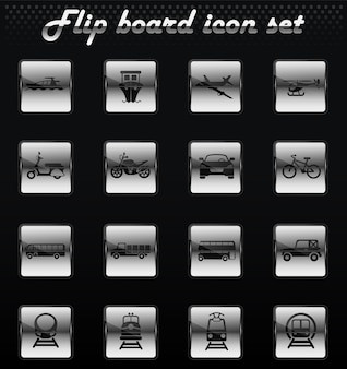 Icone meccaniche flip vettore di trasporto per la progettazione dell'interfaccia utente