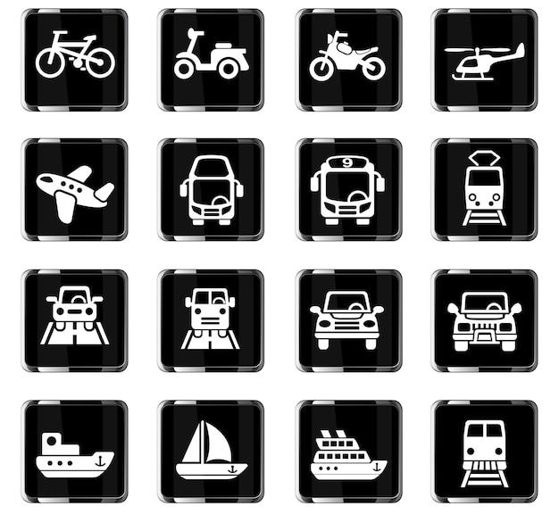 Icone web di trasporto per la progettazione dell'interfaccia utente