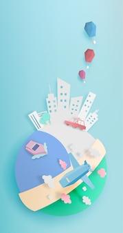 Trasporti in tutto il mondo con stile di carta da città