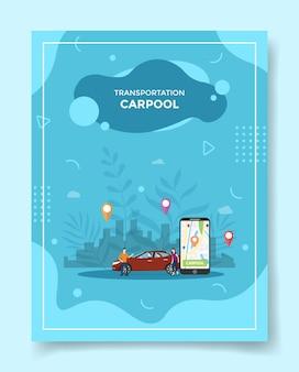 Persone di concetto di carpool di trasporto intorno alla posizione del puntatore della mappa dello smartphone dell'auto nella città di visualizzazione per il modello