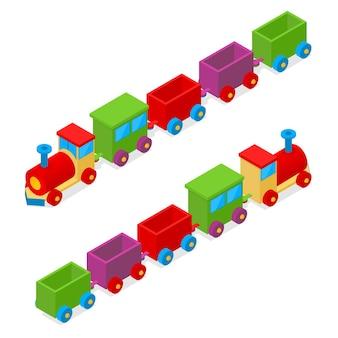 Vista isometrica del giocattolo del treno variopinto del trasporto. locomotiva da carico.