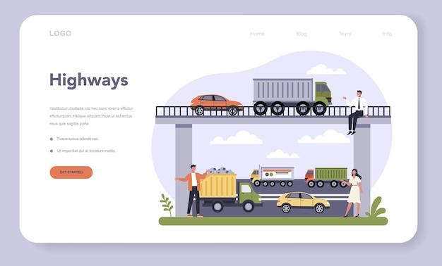 Settore delle infrastrutture di trasporto dell'economia. logistica autostradale, strada interurbana. servizio di trasporto merci. viaggi e turismo d'affari.
