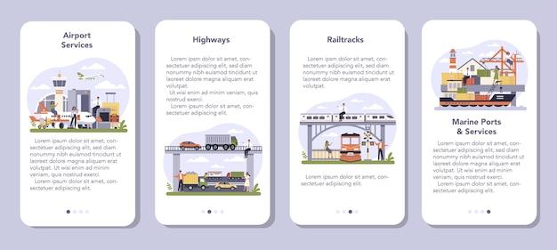 Settore delle infrastrutture di trasporto del set di banner di applicazioni mobili economiche