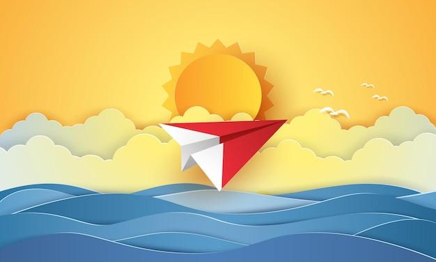 Aerei da trasporto origami che volano nel cielo per l'estate in stile arte cartacea