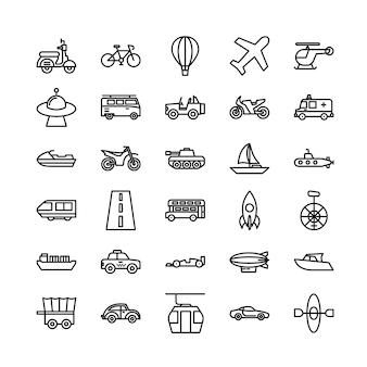 Insieme dell'icona del contorno di trasporto