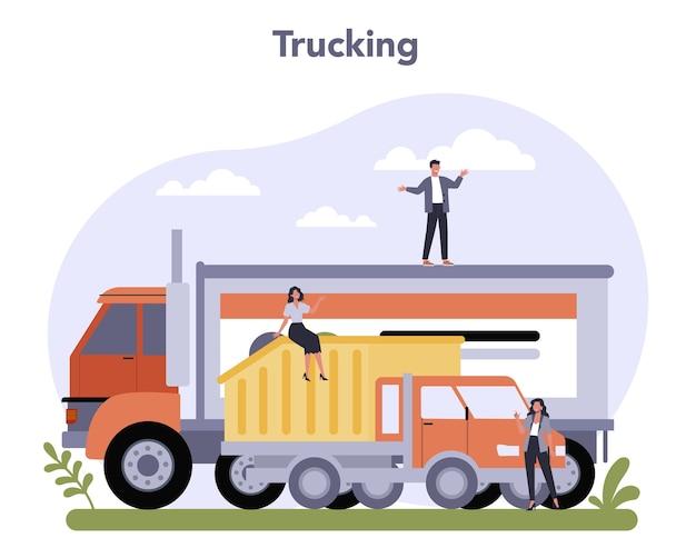 Settore dei trasporti dell'economia. logistica dei trasportatori di autotrasporti.