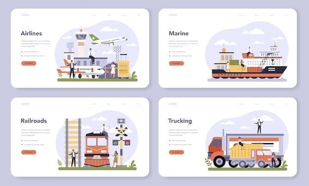 Settore dei trasporti del banner web economia o set di pagine di destinazione