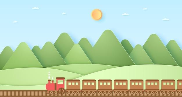 Trasporto, treno, collina della natura, montagna con sole e cielo azzurro, stile arte della carta