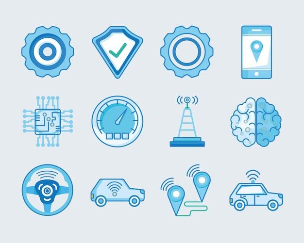 Collezione di icone di trasporto e veicoli