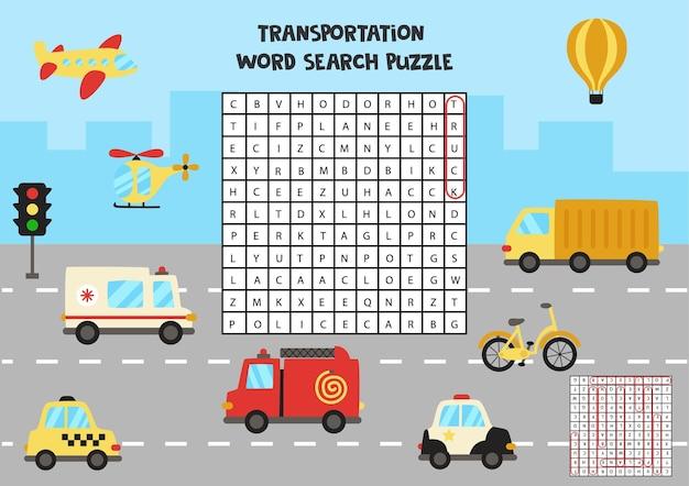 Puzzle di ricerca di parole di trasporto per bambini. divertente rompicapo per bambini.