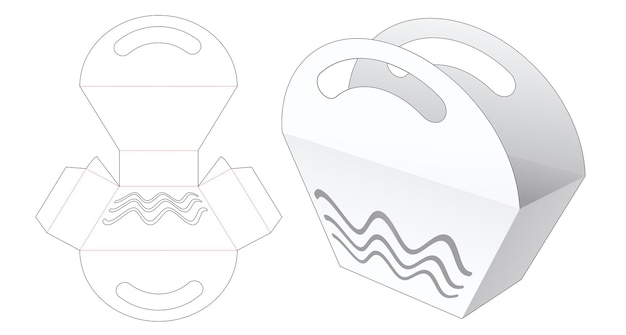 Borsa con manico trapezoidale con sagoma fustellata a forma di onda