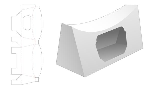Scatola a cuscino trapezoidale con sagoma di finestra fustellata
