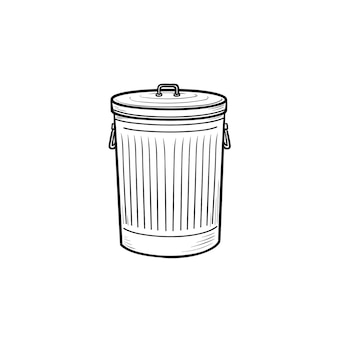 Icona di doodle di contorni disegnati a mano del cestino. cestino e bidone della spazzatura, bidone della spazzatura in acciaio e concetto di pulizia domestica