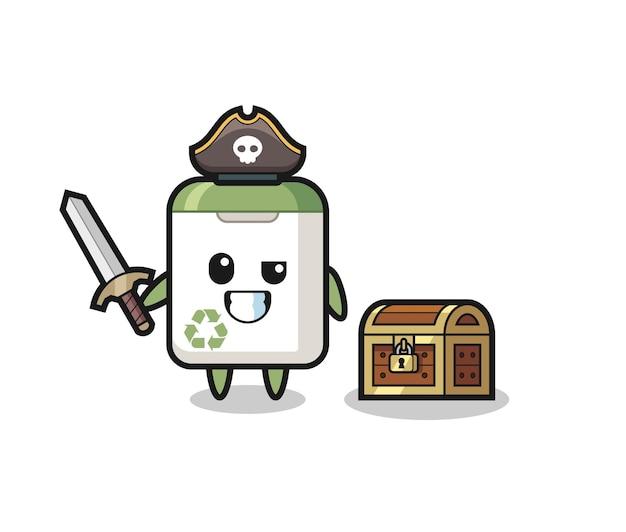 Il cestino della spazzatura personaggio pirata che tiene la spada accanto a una scatola del tesoro, design in stile carino per maglietta, adesivo, elemento logo