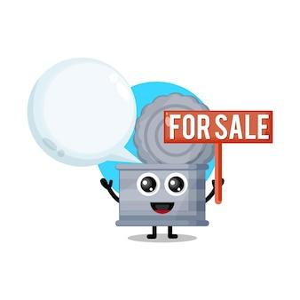 Cestino in vendita simpatico personaggio mascotte